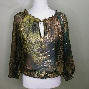 Silk & Lurex Sheer Tapestry Print Top S EUC